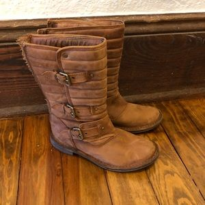 Brown quilted leather Ugg boots
